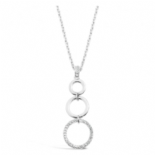 Long Imitation Rhodium Plated Crystal Stoned Triple Ring Necklace